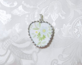 Vintage Recycled Broken China Pendant Floral