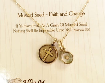 Cross and Mustard Seed Charm Necklace / Gold Cross Necklace / Vintage Style Charms / Inspirational Jewelry / Symbolic Charm Necklace