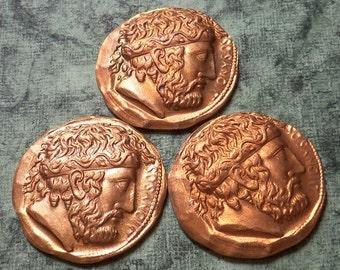 3 Vintage Brass Replica Roman Coins