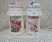 Jelly Jar 2pc Set, Seed Graphic Vintage Designs, Lid Accents, Hand Painted, Glittered, Decor Display, Shabby, ECS