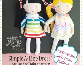 Simple A-Line Dress and Tights - A Blossom Dolls Sewing Pattern - PDF - Easy Tutorial  -