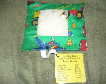 Eye Spy Scavenger Bag Construction Equipment Fabric Seek and Find