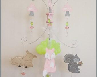 Petite Pink Woodland Baby Mobile Nursery Mobile Baby Nursery Decor
