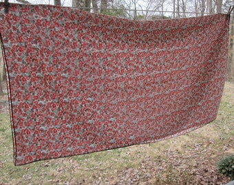 "Small Square Vintage Floral Cotton Blend Tablecloth - Orange Brown Green Floral - Spring/ Summer Decor - 52"" Square"