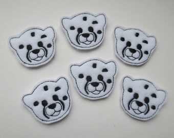 White Baby Cheeta Face Felt Applique - Embellishments  - 091
