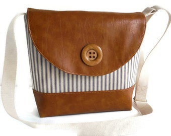 Crossbody Satchel - Adjustable Strap - Ticking Stripes - Blue and Cream - Nautical - Vegan Faux Leather