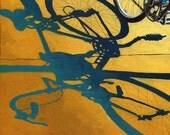 Bicycle Morning Shadows  city urban art print of original oil painting