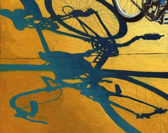 Bicycle Morning Shadows  city urban art print of original oil painting
