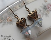 75% Off Clearance Sale- Swarovski Crystal Earrings- Morning Mist