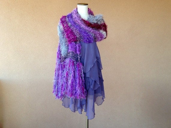 Oversized Scarf Purple Striped Shawl Scarf Accessories:  Long, Wide Shawl  Soft, Fringed Fashion Shawl Wrap Hand Knit with Purple and Silver