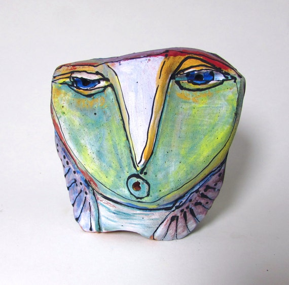 """Owl, clay sculpture, whimsical, """"Owl Person, Singing the Sacred Dream Into Being"""", 4"""" tall"""