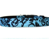 1 Inch Wide Dog Collar with Adjustable Buckle or Martingale in Damask Turquoise