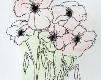 Pretty Pink Poppies, Hand Drawn, Made to Order!   Free Shipping!