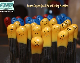 Needle Felting Needles - Quad Point  - Color-coded handles with comfy cushioned grips.