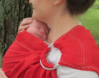 Linen Ring Sling -pure linen, decorative stitching - Baby Carrier - 100% deluxe LINEN in Cherry Red - DVD included, great baby shower gift