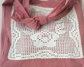 Recycled Vintage Crocheted Doily Purse in Rose