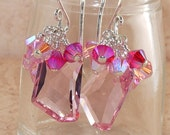 Pink Earrings, Swarovski, Crystal, 18mm, Rose, 2xAB, Light Siam, Cluster,  Sterling Silver, Handmade Jewelry, DDurda