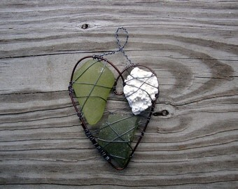 Nautical Green Seaglass and Coral Suncatcher Ornament