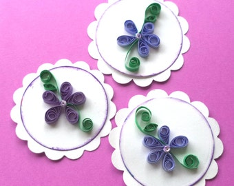 Purple Violet Quilled Flower Tags, Set of 3, White on White Scalloped Circles, Scrapbook Embellishment, Card Making