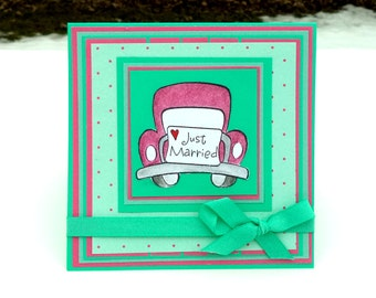 Just Married Card, Wedding Card, Car Wedding Greeting Card, Congratulations Card, Teal and Raspberry, 5x5 Card
