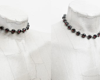 Dark Red Choker Burgundy gothic Choker Swarovski Crystal Choker gothic Jewelry dark silver tennis necklace Red Bracelet Gothic