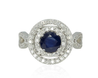 Blue Sapphire Engagement Ring with Double Diamond Halo - Ceylon Blue Sapphire - Engagement or Right hand Ring - Empress Collection - LS1160