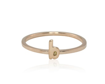 "Rose Gold Ring, Lowercase Letter ""b"" Monogram Knuckle Ring in your choice of solid 14k Gold, 18k Gold, or Platinum – LS4292"