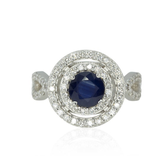 Blue Sapphire Engagement Ring with Double Diamond Halo - Ceylon Blue Sapphire - Engagement or Right hand Ring - LS1160