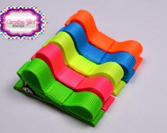 Neon Hair Clips Basic Tuxedo Clips Alligator Non Slip Barrettes for Babies Toddler Girl Teens Set of 5