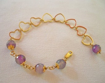 Gold Plated Purple colored Agate  Bracelets