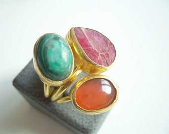 Triple Gold plated Carnelian and Malachite ring