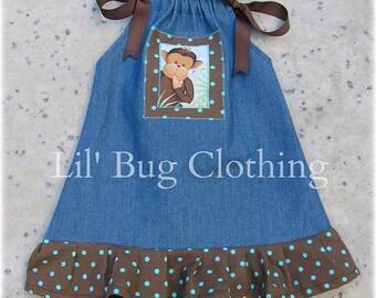 Custom Boutique Lil Monkey Denim Dress Cocoa Aqua Polka Dot size 12 18 24 2 3 4T 5T 6 7