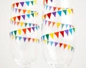 Rainbow Garland Champagne Flutes - Set of 2 Personalized Wedding Toasting Flutes - Gay Pride Wedding Glasses