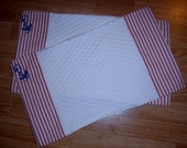 NAUTICAL PLACEMATS, Red Stripe, White Quilted, Embroidered Navy Anchor -Set of 2