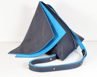 Celeste - Handmade Blue Leather Hide Shoulder Bag Purse