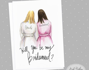 Bridesmaid PDF Download  printable cards Blonde bride, brunette bridesmaid