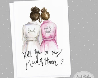 Maid of Honor PDF Download Dark Brunette Bride, Brunette Bun Will you be my Maid of Honor PDF printable card