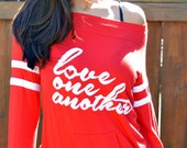 Love One Another.  Red Wide or Off the Shoulder Sporty Striped Sleeved Tee.  Made in the USA.  Sizes S-XL.