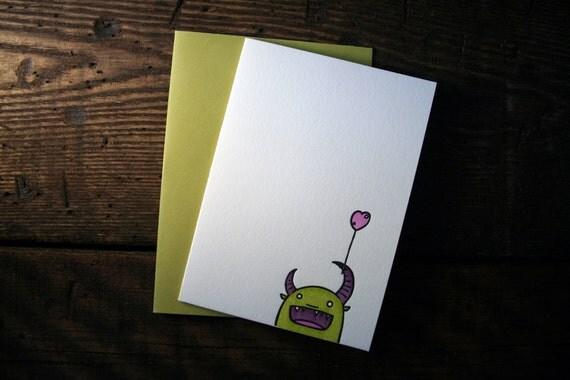 Letterpress Little Green Monster Valentine Card - Single
