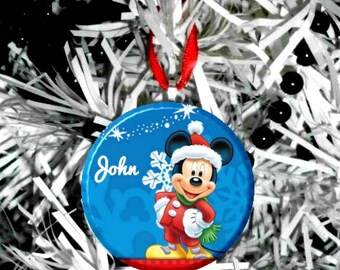 """Personalized Mickey Mouse Christmas 2.25"""" Ornament"""