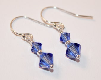Swarovski Crystal Earrings, Sapphire Blue, Sterling Silver, Dainty Earrings, Ready To Ship, Bridesmaid Jewelry, Shimmer Shimmer
