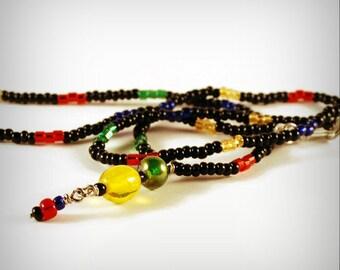Dark Rainbow Beaded Necklace Pendant Rainbow Black