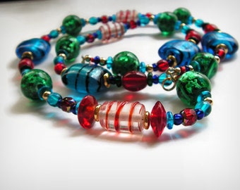 Dee luscious Bright Colorful Beaded Necklace Green Blue Red Lampwork Murano Long