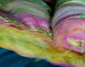 Art batt SALE 4 oz. merino silk wool locks blend hand dyed PASSION FRUIT