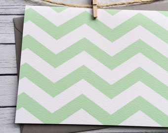 Mint Chevron Baby Shower Thank You Cards, Mint Chevron Baby Shower Thank You Notes