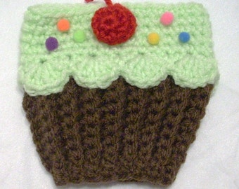 Cup Cozy sleeve Cupcake Coffee Cup Cozy Sleeve Chocolate brown mint green for Hot or Cold Drinks tea starbucks Red Cherry Ready To Ship