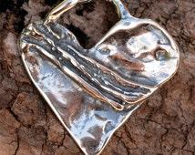 Gratitude Heart Sterling Silver Pendant, Rustic Artisan Heart