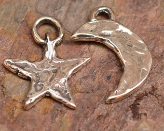 Artisan Star and Moon Charms in Sterling Silver, CH-92-93