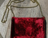 Vintage 90's Mini Minaudiere Red Velvet Chain Shoulder Envelope Purse