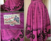 Vintage Mexican Circle Skirt Hand Painted
